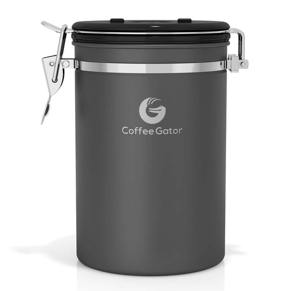 Stainless Steel Coffee Canister - Large - Grey