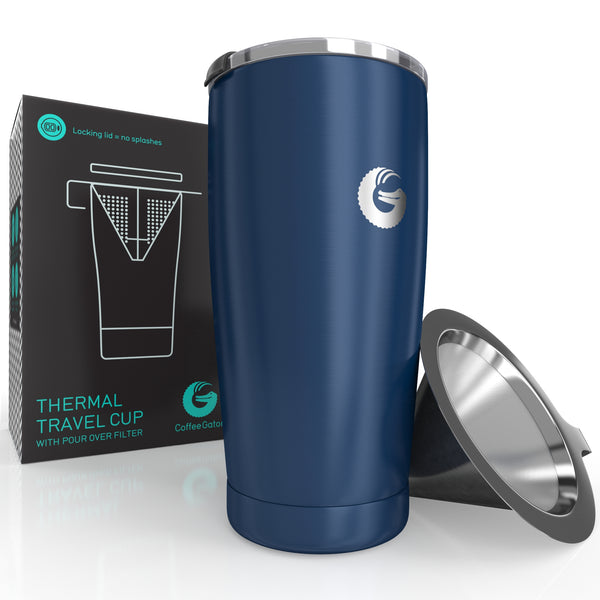 Thermal Pour Over Coffee Brewer Travel Mug - 20oz / 585ml - Blue - Coffee Gator