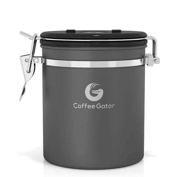 Stainless Steel Coffee Canister - Medium - Grey