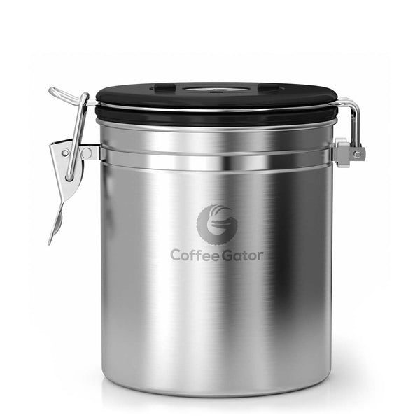 Stainless Steel Coffee Canister - Medium, Silver