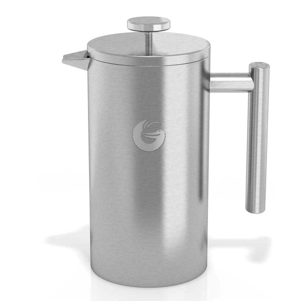 French Press Thermal Insulated Coffee Brewer - 34 oz, Silver
