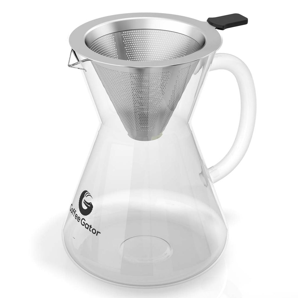 Pour Over Coffee Brewer with Reusable Stainless Steel Mesh Filter