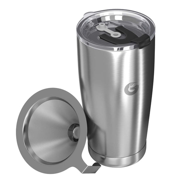 Thermal Pour Over Coffee Brewer Travel Mug - 20 oz, Silver
