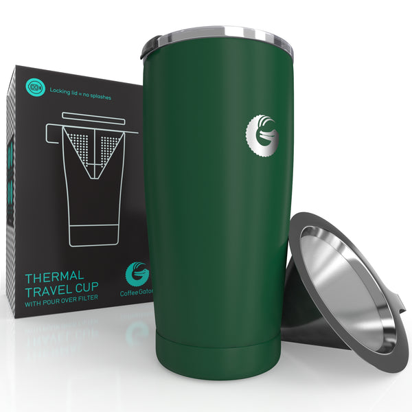 Thermal Pour Over Coffee Brewer Travel Mug - 20oz / 585ml - Green - Coffee Gator