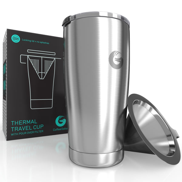 Thermal Pour Over Coffee Brewer Travel Mug - 20oz / 585ml - Silver - Coffee Gator