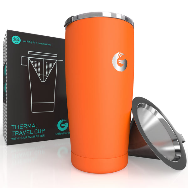 Thermal Pour Over Coffee Brewer Travel Mug - 20oz / 585ml - Orange - Coffee Gator
