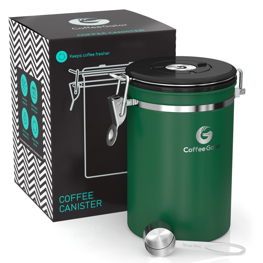 Stainless Steel Coffee Canister - Fresher Coffee for Longer - Large - Green - Coffee Gator
