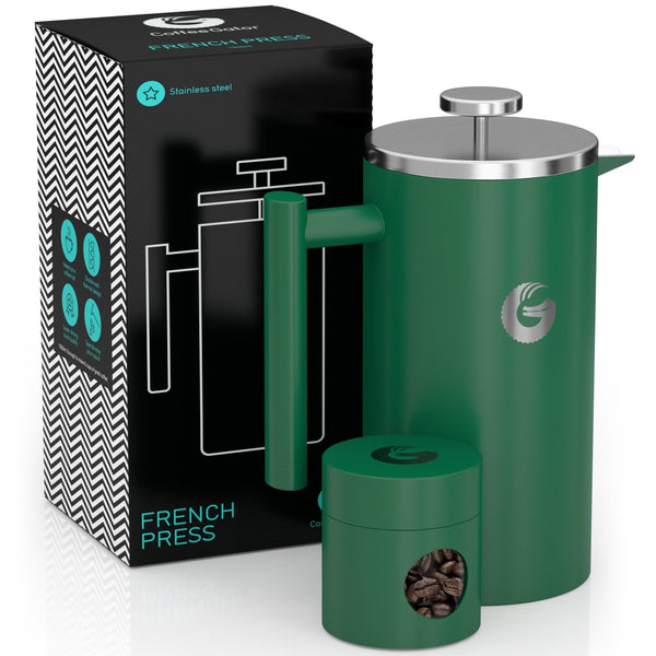French Press Coffee Maker - Less Sediment, Hotter-For-Longer Thermal Brewer - 34 ounce / 1 litre - Green - Coffee Gator