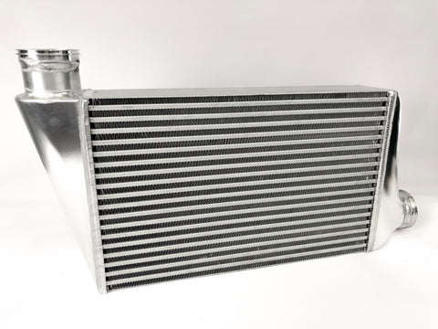 "FTG EVO X 4"" Intercooler with billet tanks."