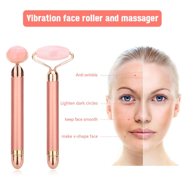Electro Vibrating Facial Massager - Natural Rose Quartz Crystal Stone - Grand Istanbul Bazaar
