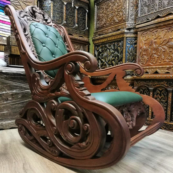Carved Rocking Chair 💚 Mecedora Tallada - Grand Istanbul Bazaar