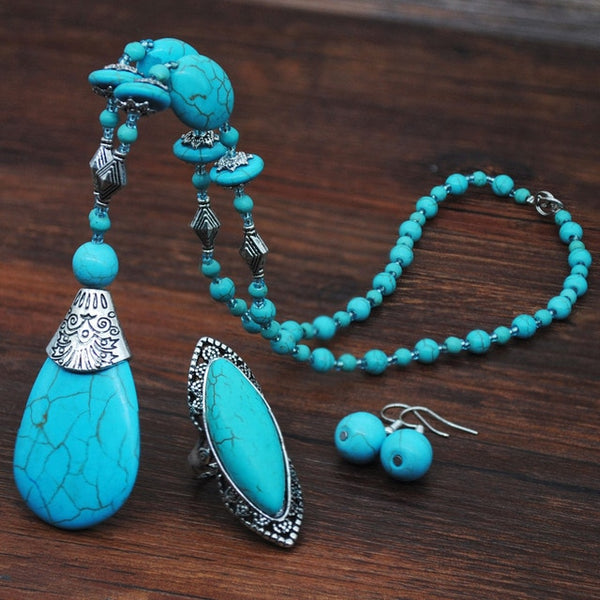 Bohemian Vintage Natural Turquoise Jewelry Sets - Grand Istanbul Bazaar