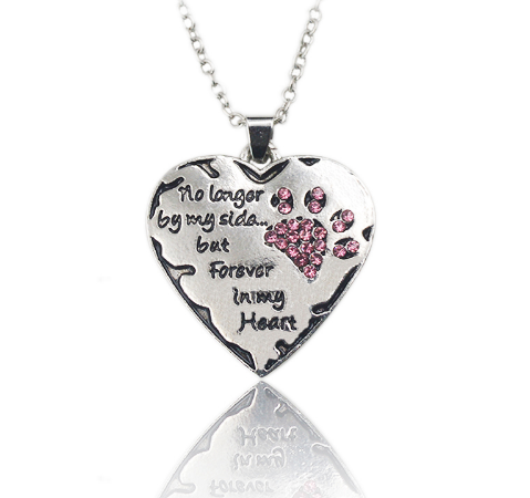 "FREE ""No Longer By My Side"" Crystal Dog Paw & Heart Necklace"