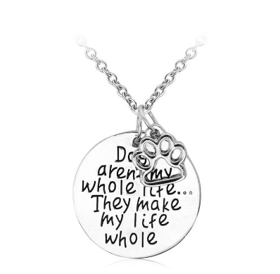 "FREE ""Dogs make my Life Whole"" Love Pendant Necklace"