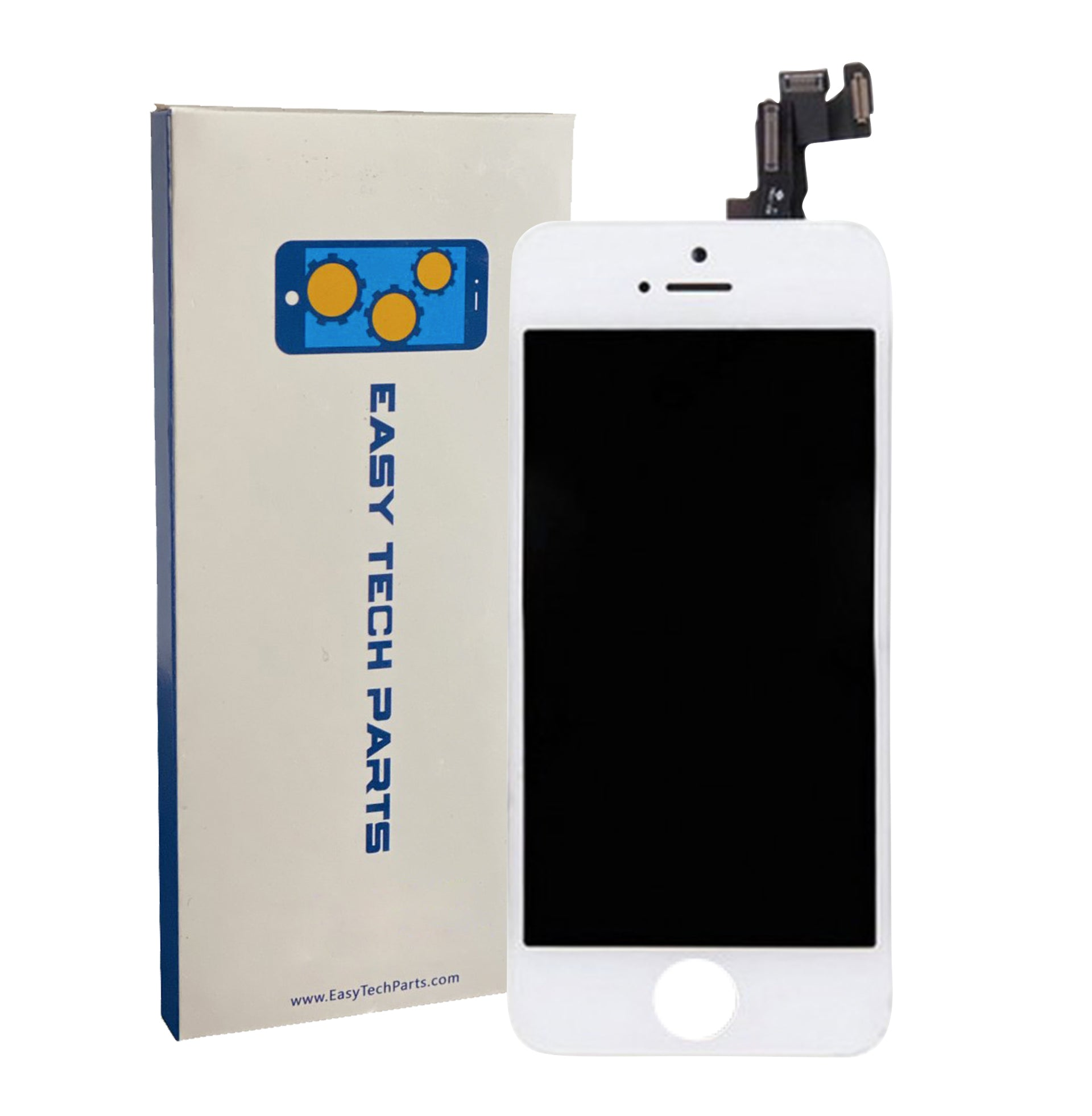 For Apple iPhone 5S - LCD Digitizer Touch Screen Assembly - With Spare Parts (No Home Button) - White - OEM