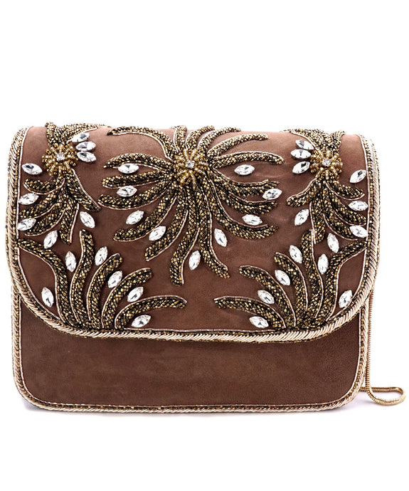 STUDIO ACCESSORIES Brown Beads and Crystals embellished Floral Motif Clutch bag