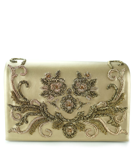 Studio Accessories Gold hand beaded floral motif leather clutch bag