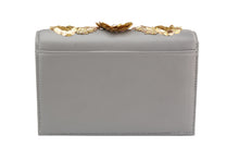 STUDIO ACCESSORIES Grey Flowery Design Chain Hanging Clutch Bag