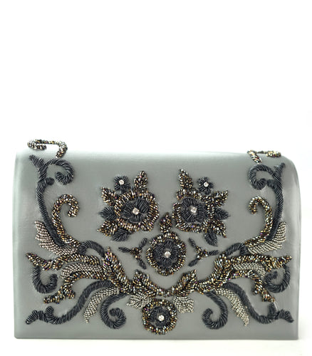 Studio Accessories Grey hand beaded floral motif leather clutch bag