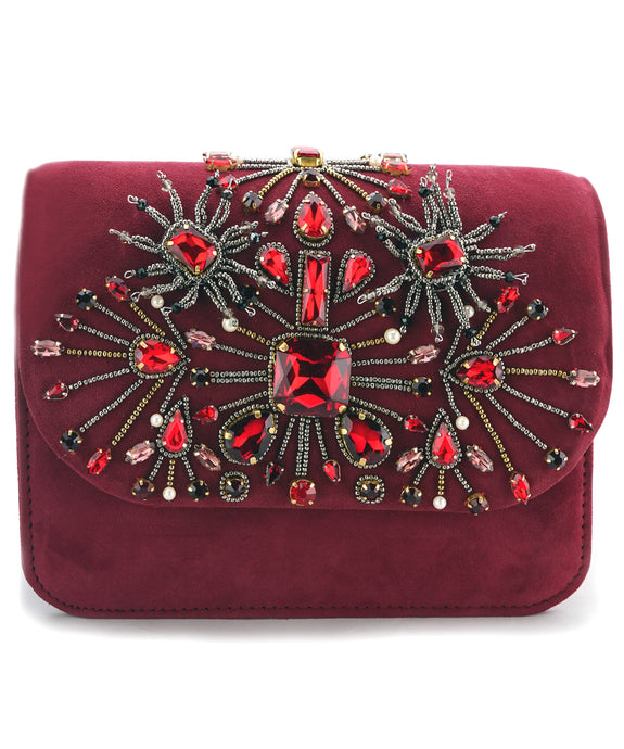STUDIO ACCESSORIES Red Beads and Crystal Stones embellished Floral Motif Clutch bag
