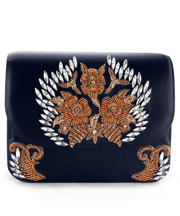 Studio Accessories Black Hand beaded leather clutch bag