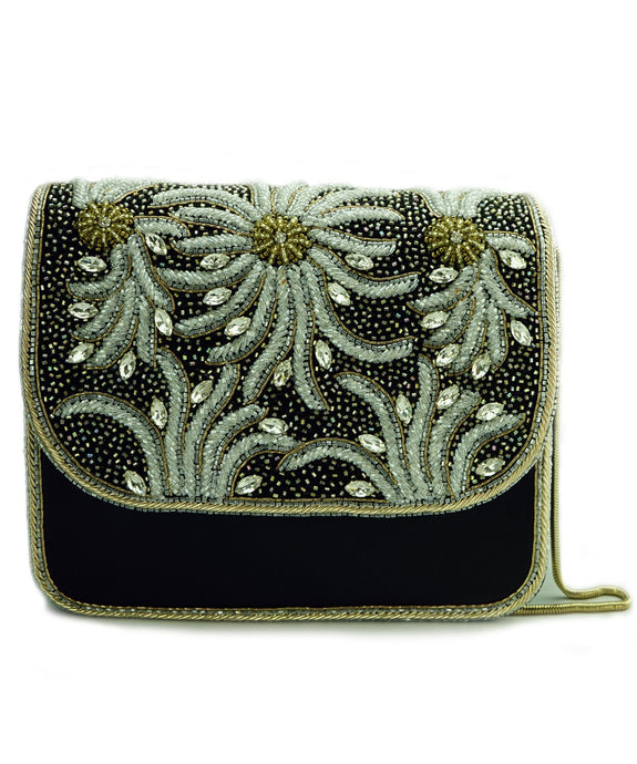 STUDIO ACCESSORIES Black Beads and Crystals embellished Floral Motif Clutch bag