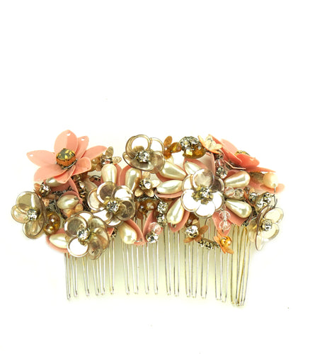 STUDIO ACCESSORIES Crystal, sequins and Pearl Embellished Floral Hair Comb Hairclip