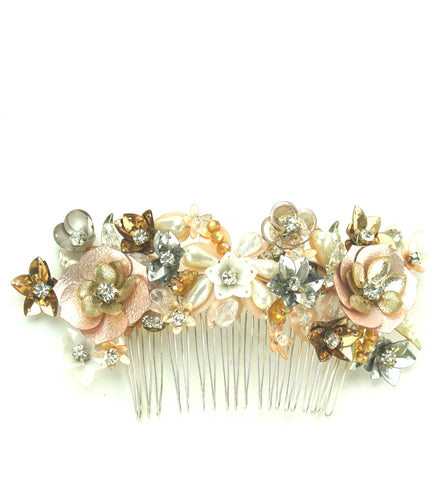 STUDIO ACCESSORIES Gold, silver and peach color Crystal, sequins and Pearl Embellished Floral Hair Comb Hairclip