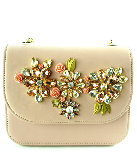 STUDIO ACCESSORIES Pink color multicolor Crystals and sequins embellished Floral Motif leather Clutch bag