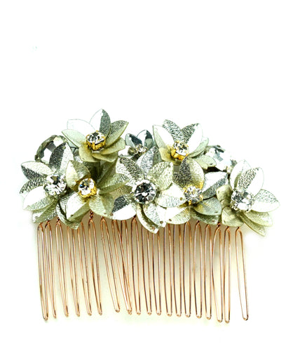 STUDIO ACCESSORIES Silver color Crystal and sequins Embellished Floral Hair Comb Hairclip
