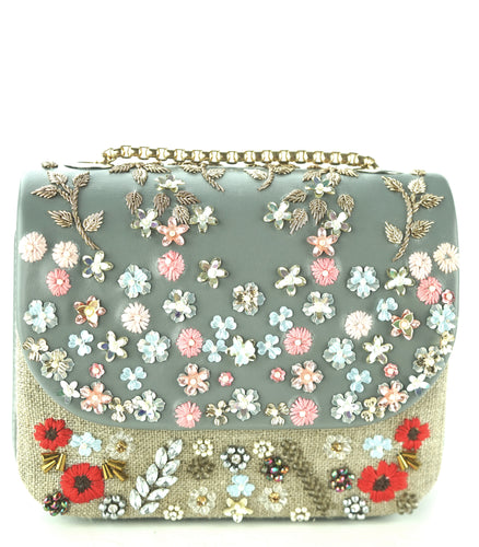 Studio Accessories Grey color Leather and linen Crystals, sequins and beads embellished Floral Motif Clutch bag