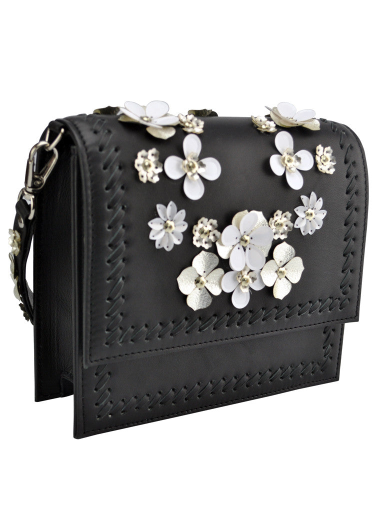 4eb4a891d6036 Studio Accessories Black floral leather clutch bag – BORN FLASH