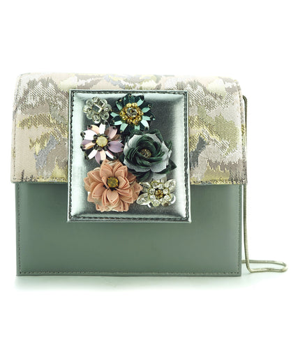 Studio Accessories Multicolor floral Grey leather clutch bag