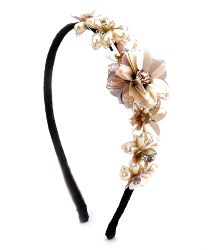 STUDIO ACCESSORIES Silver Sequins and Crystal Embellished flower Hairband
