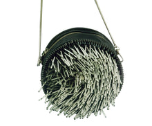 STUDIO ACCESSORIES ROUND SHAPED SILVER FRINGED BEADED LEATHER CLUTCH BLACK