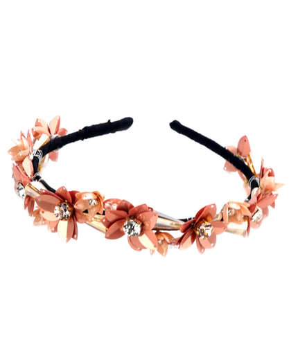 STUDIO ACCESSORIES Peach Sequins and Crystal Embellished flower Hairband
