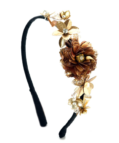 STUDIO ACCESSORIES Gold Sequins and Crystal Embellished flower partywear Hairband