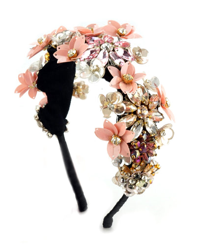 STUDIO ACCESSORIES Multicolor Crystal and Sequins Embellished floral partywear Hairband