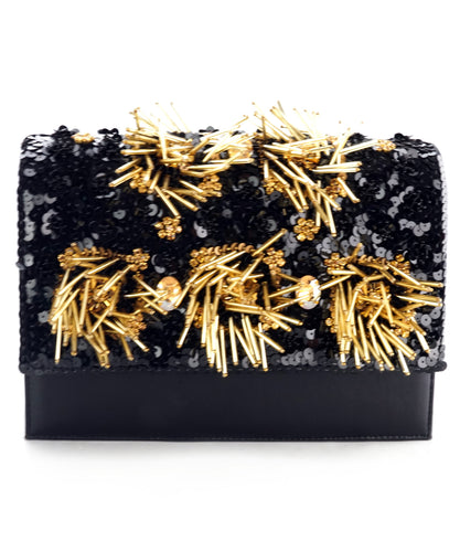 STUDIO ACCESSORIES BLACK FRINGED BEADED LEATHER CLUTCH BAG
