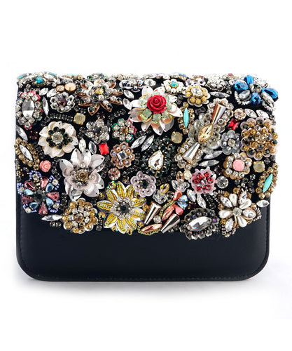 STUDIO ACCESSORIES Black base Multicolor Floral Clutch Bag Hand bag