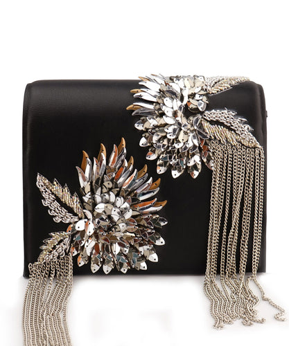 STUDIO ACCESSORIES Black and Silver Flowery Design Clutch Bag