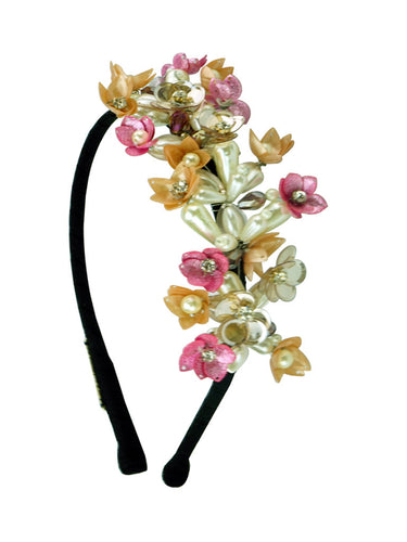 STUDIO ACCESSORIES Multicolor Sequins and Crystal Embellished Floral Woven Hairband