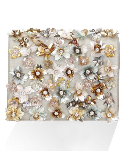 STUDIO ACCESSORIES Multicolor Crystals and Sequinned Flowers Embellished Linen Clutch Bag