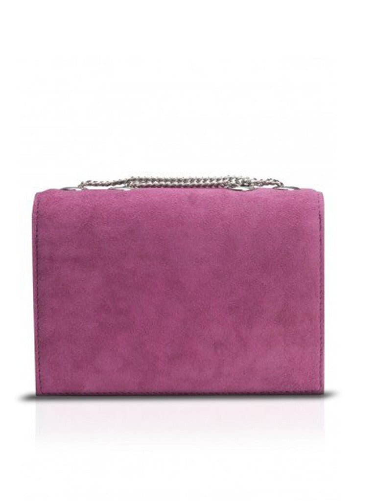 clearance buy cheap strong packing STUDIO ACCESSORIES Purple Stone Embellished Bow Suede Clutch Bag