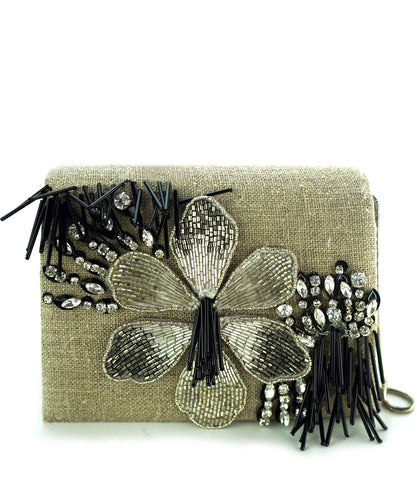 STUDIO ACCESSORIES Black Color Hand Beaded Clutch Bag