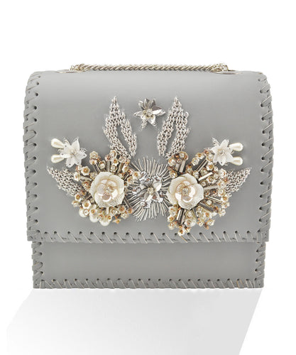 Studio Accessories Grey floral leather clutch bag