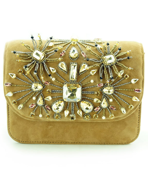 STUDIO ACCESSORIES Brown Beads and Crystal Stones embellished Floral Motif Clutch bag