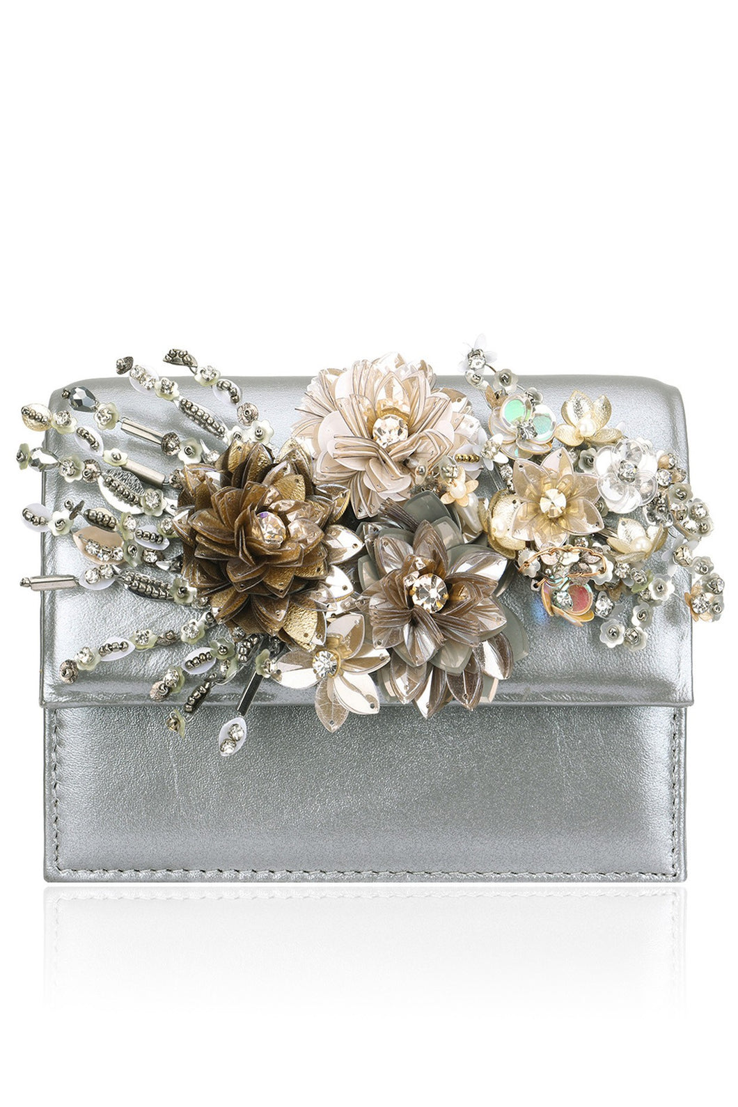 0218800c44 Studio Accessories Grey Crystal and Sequins multicolor floral leather clutch  bag