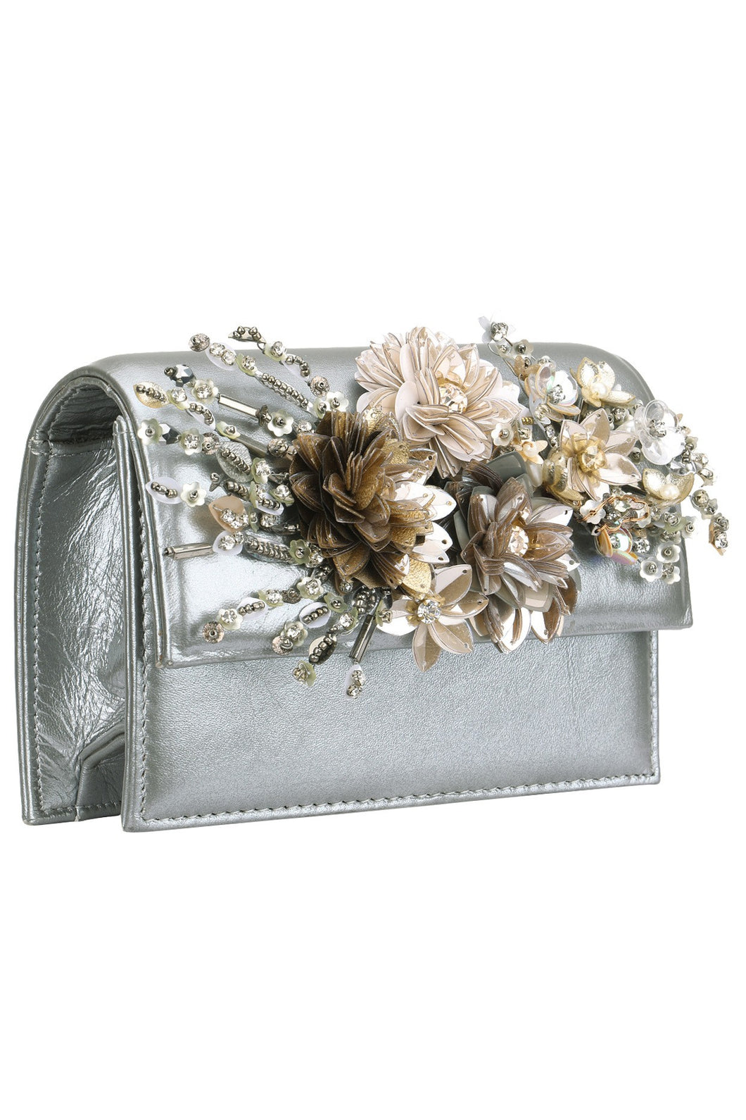 7688a7f9f9 Studio Accessories Grey Crystal and Sequins multicolor floral leather clutch  bag ...