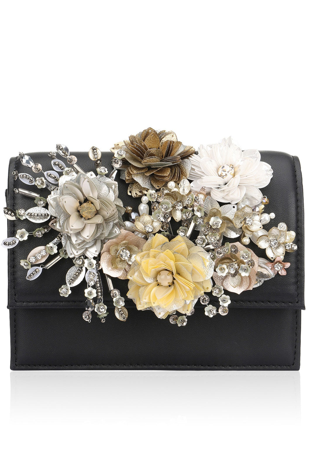 04eeb4aa77 Studio Accessories Multicolor Crystal and Sequins floral leather clutch bag